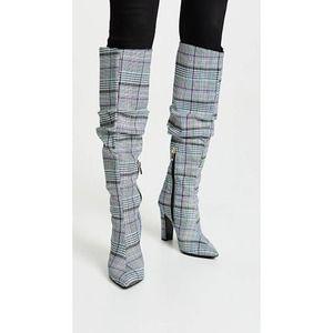 Jaggar Fortune Knee High Boot Plaid Scrunch Heel
